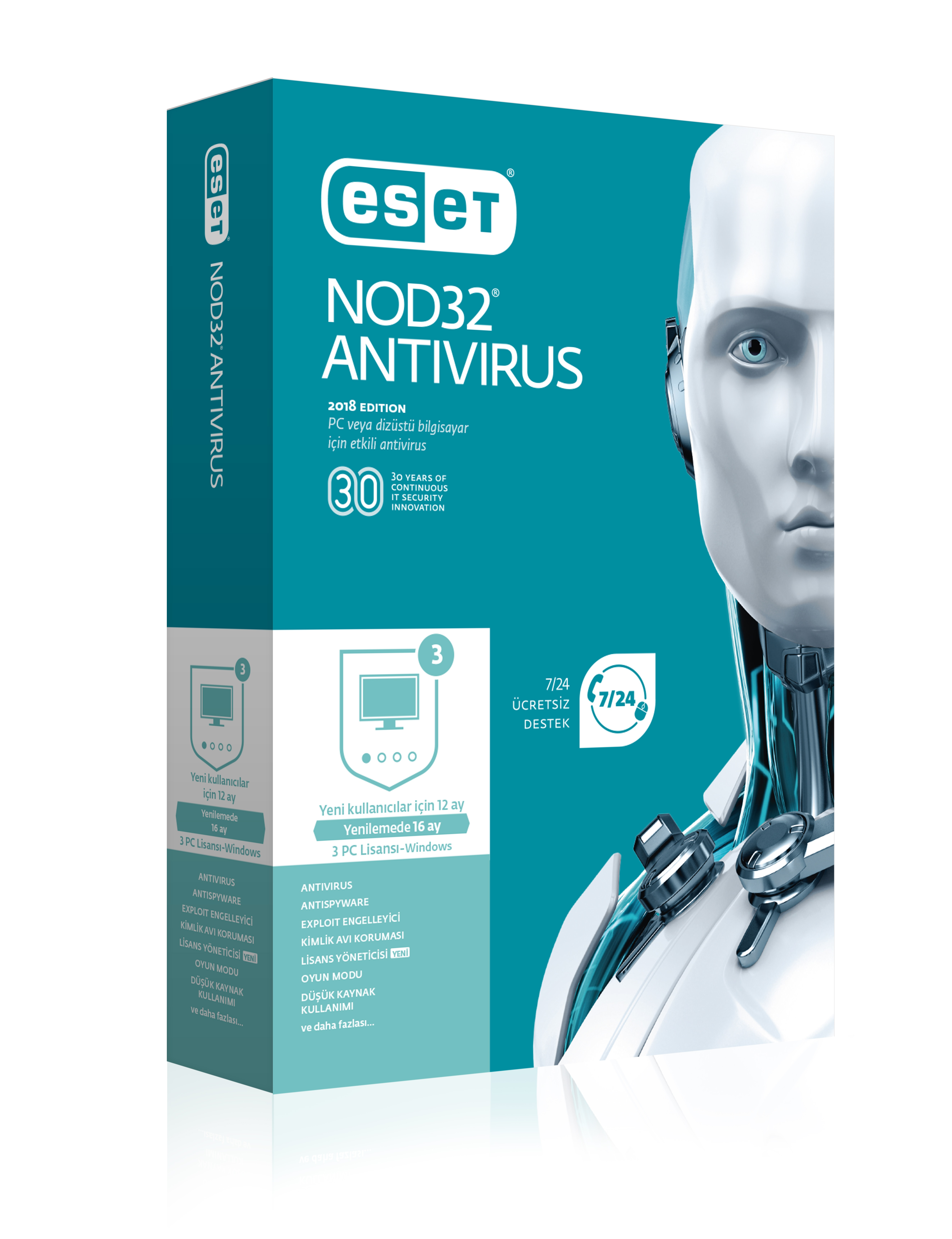NOD32 ESET ANTIVIRUS V10 TURKCE KUTU 3 KULLANICI
