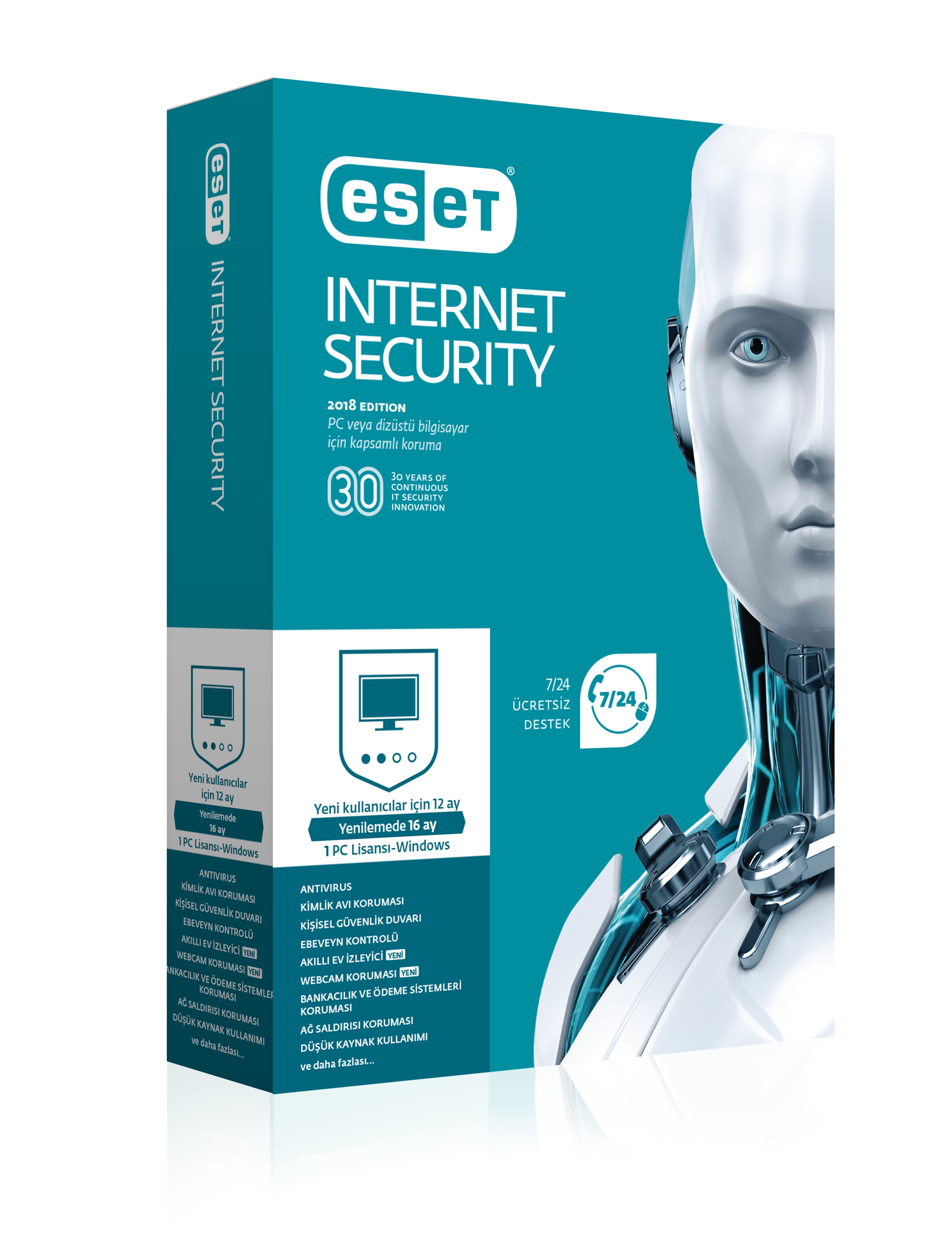 NOD32 ESET INTERNET SECURITY V10 TURKCE KUTU 1 KULLANICI